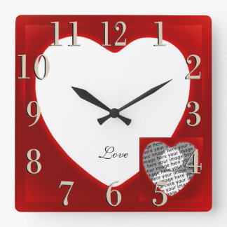 Red Framed White Heart Add A Photo Love Clock