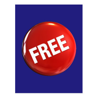 Red Free Button Postcard