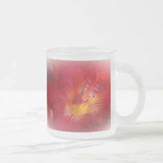 Red Freesia Blossom Frosted Glass Mug