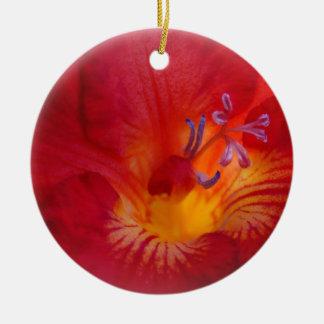 Red Freesia Flower Items Round Ceramic Decoration