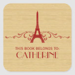 Red French Flourish Bookplate Stickers
