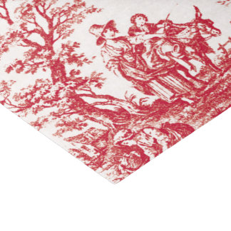 Red French Toile Tissue Paper