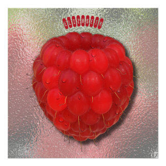 Red Fresh Raspberry With Morning Dew Drops Drawing Poster