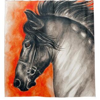 Red Friesian Beautiful Black Horse Watercolor Art Shower Curtain