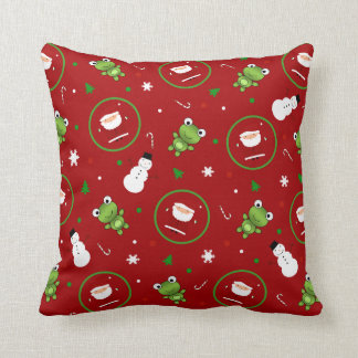 Red frogs santa claus snowmen cushion