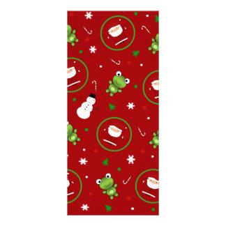Red frogs santa claus snowmen full color rack card