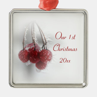 Red Frosty Berries 1st Christmas Together Christmas Ornament