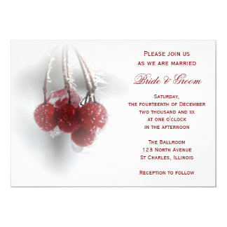 Red Frosty Berries Winter Wedding Invitation