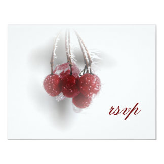 Red Frosty Berries Winter Wedding RSVP Card