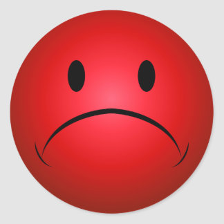 Red Frownie Face Sticker