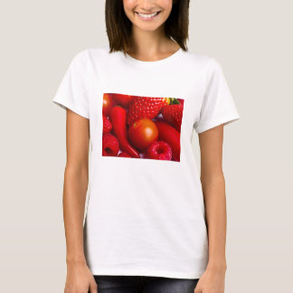 Red Fruit and Vegetables Fitted Tee Shirt