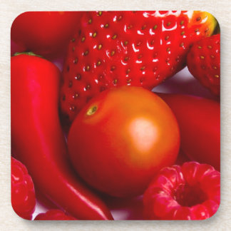 Red Fruit and Vegetables Set of 6 Coasters