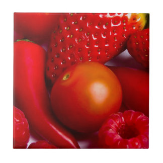 Red Fruit and Vegetables Tile/Trivet Tile