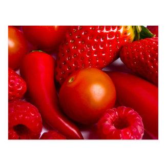 Red Fruit/Vegetables Postcard