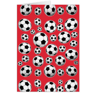 Red Funny Soccer Ball Pattern Note Card