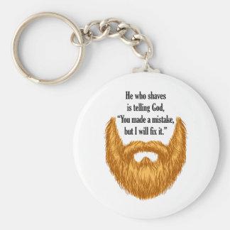 red fuzzy beard key ring