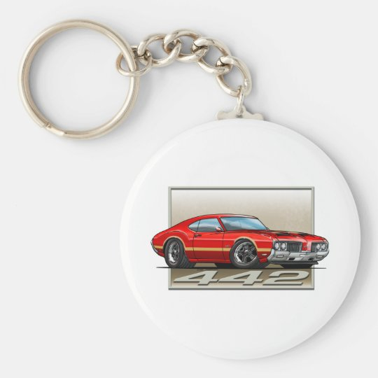 Red_G_70_442 Basic Round Button Key Ring