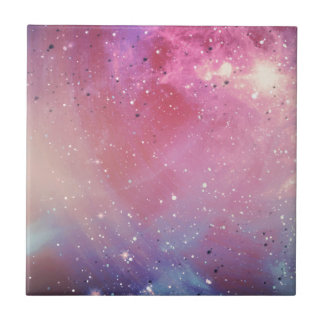 Red Galaxy Small Square Tile