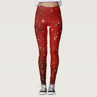 Red Galaxy Stars Print Leggings