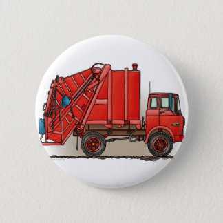 Red Garbage Truck 6 Cm Round Badge