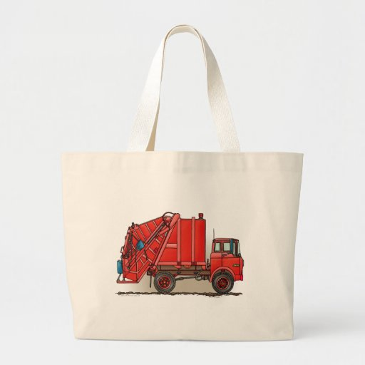 Red Garbage Truck Jumbo Tote Bag