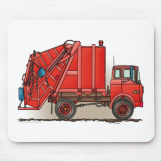 Red Garbage Truck Mouse Mat