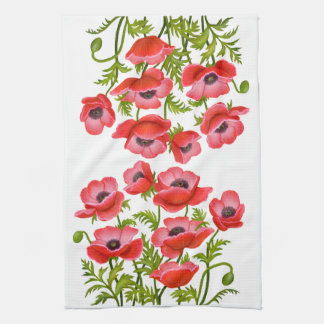 Red Garden Poppy Flowers American MoJo Kitchen Tow Tea Towel