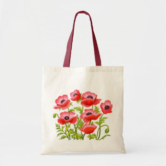 Red Garden Poppy Flowers Bag
