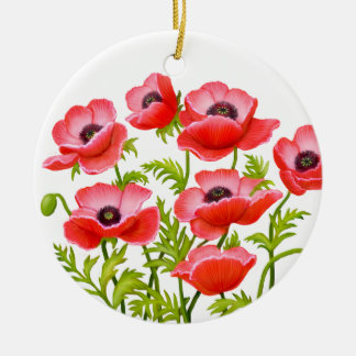 Red Garden Poppy Flowers Ornament