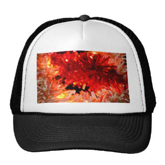 red garland abstract hats