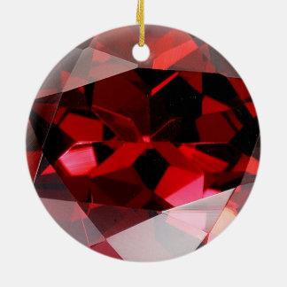 Red Garnet Gemstone January Birthstone Round Ceramic Decoration