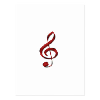 Red Gclef Music Symbol Postcards