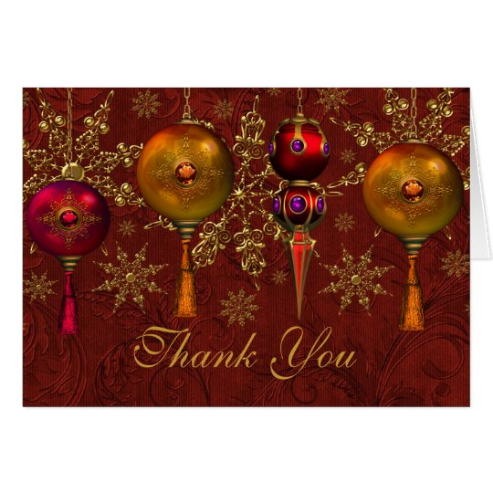 Red Gem Bauble Festive Christmas Thank You Card