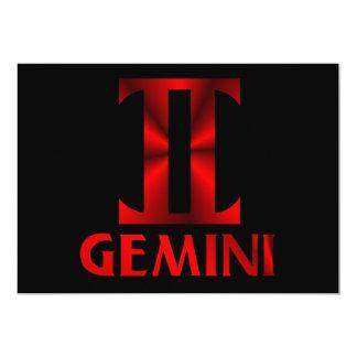 Red Gemini Horoscope Symbol Card