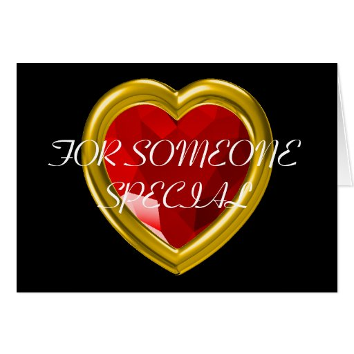Red gemstone heart greeting card