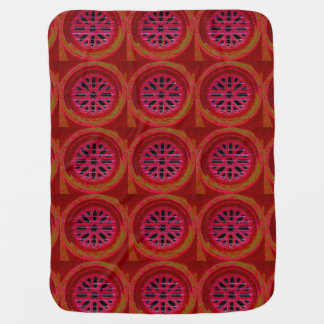 red geometric baby blanket
