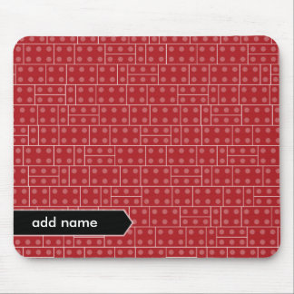 Red Geometric Building Block Pattern Mouse Mat