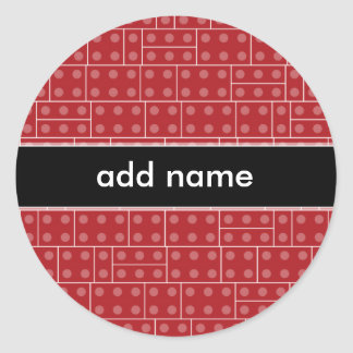 Red Geometric Building Block Pattern Round Sticker