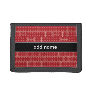 Red Geometric Building Block Pattern Trifold Wallet