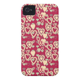 Red Geometric Heart Pattern Case iPhone 4 Cover