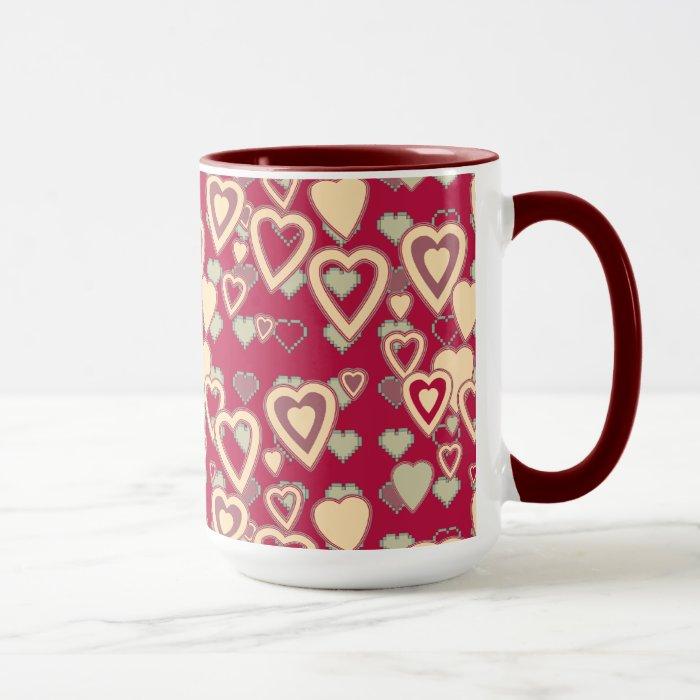 Red Geometric Heart Pattern Mug