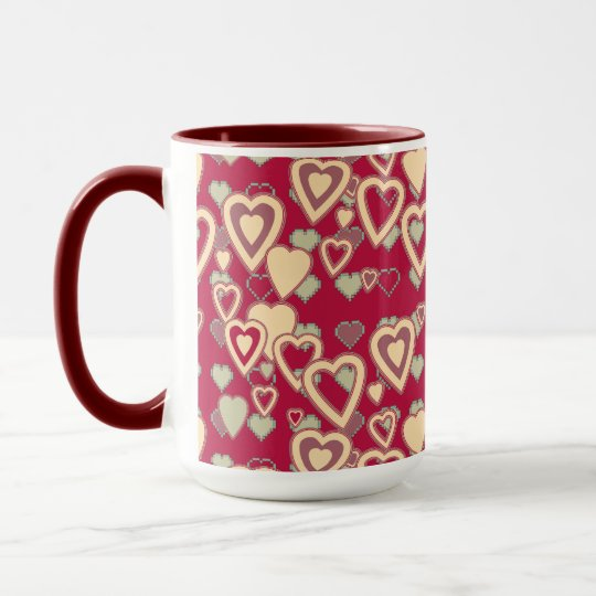 Red Geometric Heart Pattern Mug