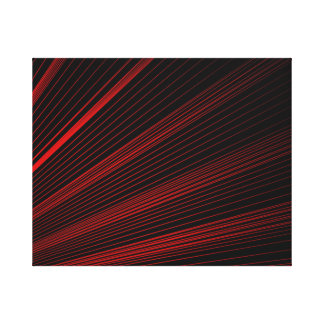 Red Geometric Lines Abstract On Black Canvas Print