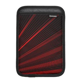 Red Geometric Lines On Black, iPad Mini Sleeve