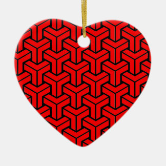 Red Geometric Pattern Christmas Ornament