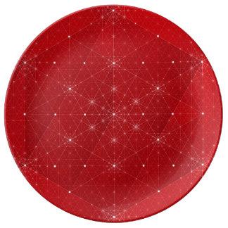 Red Geometric Snowflake Stars Porcelain Plate