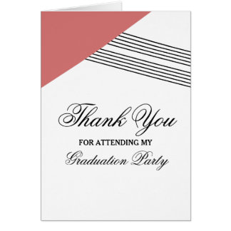 Red Geometric Stripe Graduation Thank You Card