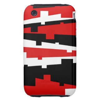 Red Geometric Striped iPhone 3 Tough Covers