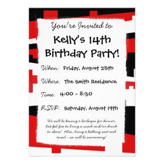 Red Geometric Striped Invite
