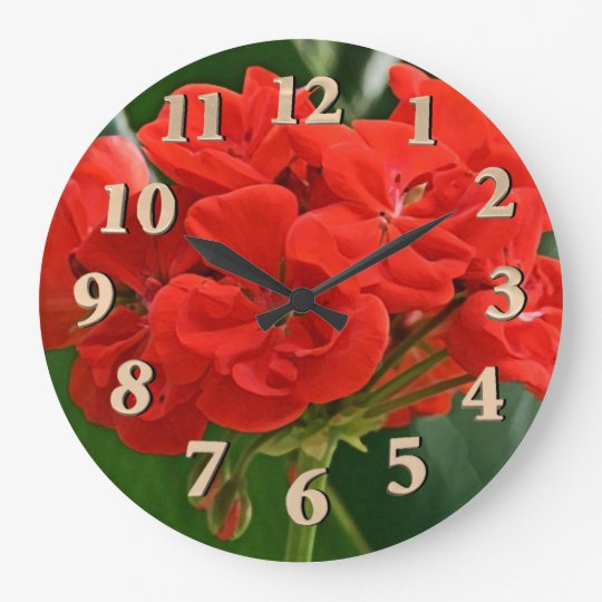 Red Geranium Large Clock